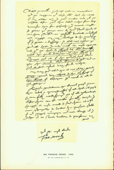 Sir Francis Drake, 1586, letter to William Cecil, Lord Burghley, Lord High Treasurer; facsimile of manuscript. From Universal Classic Manuscripts: Facsimiles From Originals in the Department of Manuscripts, British Museum. George Frederic Warner, Stanislaus Murray Hamilton, Oliver H. Leigh, intr.