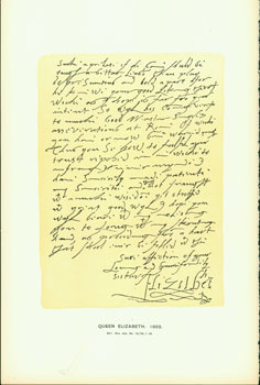 Queen Elizabeth, 1603, letter to James VI of Scotland; facsimile of manuscript. From Universal Classic Manuscripts: Facsimiles From Originals in the Department of Manuscripts, British Museum. George Frederic Warner, Stanislaus Murray Hamilton, Oliver H. Leigh, intr.