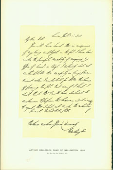 Arthur Wellesley, Duke of Wellington, Letter to General Rowland Hill, 1828; facsimile of manuscript. From Universal Classic Manuscripts: Facsimiles From Originals in the Department of Manuscripts, British Museum. George Frederic Warner, Stanislaus Murray Hamilton, Oliver H. Leigh, intr.
