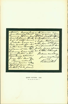 Queen Victoria, 1885; facsimile of manuscript. From Universal Classic Manuscripts: Facsimiles From Originals in the Department of Manuscripts, British Museum. George Frederic Warner, Stanislaus Murray Hamilton, Oliver H. Leigh, intr.