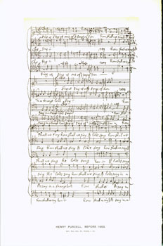 Henry Purcell, 1683; facsimile of manuscript. From Universal Classic Manuscripts: Facsimiles From Originals in the Department of Manuscripts, British Museum. George Frederic Warner, Stanislaus Murray Hamilton, Oliver H. Leigh, intr.
