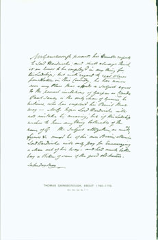 Thomas Gainsborough, about 1760-1770; facsimile of manuscript. From Universal Classic Manuscripts: Facsimiles From Originals in the Department of Manuscripts, British Museum. George Frederic Warner, Stanislaus Murray Hamilton, Oliver H. Leigh, intr.