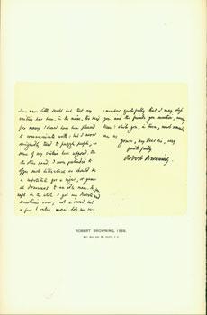 Robert Browning, 1868; facsimile of manuscript. From Universal Classic Manuscripts: Facsimiles From Originals in the Department of Manuscripts, British Museum. George Frederic Warner, Stanislaus Murray Hamilton, Oliver H. Leigh, intr.