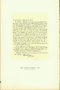Jean Jacques Rousseau, 1764; facsimile of manuscript. From Universal Classic Manuscripts: Facsimiles From Originals in the Department of Manuscripts, British Museum. George Frederic Warner, Stanislaus Murray Hamilton, Oliver H. Leigh, intr.