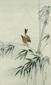 """[Bamboo And Bird]. """"Happiness"""" stamped in Japanese characters."""