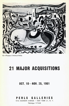 21 Major Acquisitions: October 10th to November 25th, 1961. Camille Bombois, Raoul Dufy, Amedeo Modigliani, Jules Pascin, Pablo Picasso, Juan Gris, Joan Miro.
