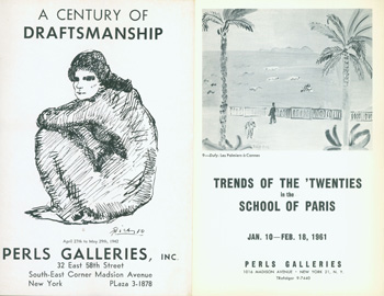 Exhibition Catalogues for two group shows at Perls Gallery. A Century of Draftsmanship: April 27 - May 29, 1942. 8vo. Printed Wrapper, Very Good. Illustration. Trends Of the 'Twenties in the School of Paris: January 10 - February 18, 1961. 8vo., [12 pp.] Stapled Wraps, Deckled Laid Paper, Very Good. Illustrated. Georges Rouault, Raoul Dufy, Jules Pascin, Pablo Picasso.