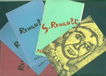 Exhibition Catalogues for Georges Rouault shows at Perls Gallery, 1949-1964. Georges Rouault: Paintings. October 31 - November 26, 1949. 8vo. [8 pp.] Stapled Wraps, Deckled Edges, Very Good with minor sun-fading. Illustrated. Georges Rouault: November 12 - December 22, 1956. 8vo. [12 pp.] Stapled Wraps, Deckled Edges, Very Good. Illustrated. Two Copies. Georges Rouault: The Later Years. October 18 - November 26, 1960. 8vo. [8 pp.] Stapled Wraps, Deckled Edges, Very Good. Illustrated, with some color plates. Georges Rouault And the School of Paris. January 28 - March 7, 1964. 8vo. French-Fold Sheets, Deckled Edges, Very Good. Illustrated cover. Georges Rouault.