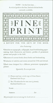 Fine Print: A Review for the Arts of the Book. Arif Press, Wesley B. Tanner, print.