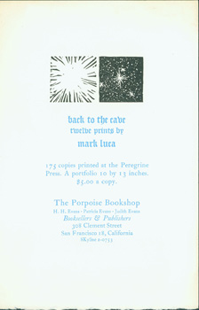 Back To The Cave: Twelve Prints by Mark Luca. Porpoise Bookshop, Gallery, Mark Luca, Henry Evans, Peregrine Press.