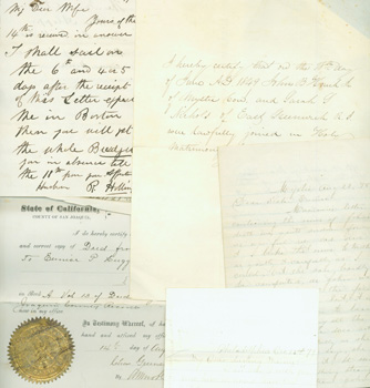 Manuscripts: Letter by Mrs. Baker to Mannie, Philadelphia, Dec. 22nd, 1877 (two pages); Marriage Certification, June 18, 1849, Wedding of John B. Couch of Mystic, Conn. and Sarah Nichols of East Greenwich, R.I.; Letter from Mystic [Conn.?] Aug. 22, 1878, addressed Dear Sister Eunice [Huggins?]; Deeds of sale from John B. Houche to Eunice P. Huggins dated May 21, 1863 in Stockton, CA, and August 14, 1880 in San Joaquin County, CA; and a letter dated Oct. 1, 1870, R. Hollings to his wife. California City of Stockton, CA San Joaquin County, Eunice P. Huggins, John B. Houche, John B. Couch, Sarah Nichols.