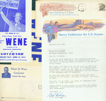 Fundraising & Campaign Letters. 1968 Barry Goldwater For U. S. Senate Campaign, 1953 Elmer Wene For New Jersey Governor.