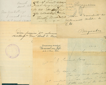 """MS Letters. From New Haven [Conn.], Sept. 27, 1862; Glamorganshire, Wales, March 13, 1885; Toledo [Ohio], April 20th, 1854; Middletown, June 8, 1875; Katy Gorman, 12/29/1930; 1812 Note, Timothy [Bucce?]; New York April 17, 1860; undated MS note signed Vargas, stamped """"Republica de Guatemala""""; from """"General en Jefe"""", June 25, 1909; from Bayamban, May 6, 1901, folded note inside envelope."""