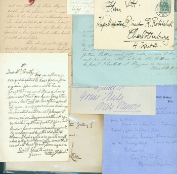 """MS Notes, Letters, Cards. Card signed """"Louis, Feb. 1871""""; Two Page MS Transcription of Letters and Notes, 4/18/1954; Howard Durham letter from Hempstead, 9/11/1933; Mary Pavane note dated Dec. 27th, from Weston-super-Mare; Folded page with undated MS letters from Jennie MacVeagh & Kitty Hillard to one Mr. McGrath; 6 page MS letter; the Will of Elisabeth D. Bishop; brief note to Mazie on calling card of Miss Katherine Netterville; undecipherable post card in German; post card from Charles Ottenburg. Charles Ottenburg, Miss Katherine Netterville, Elisabeth D. Bishop, Kitty Hillard Jennie MacVeagh, Mary Pavane, Howard Durham."""