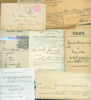 Business MSs: Receipts, Invoices: Schmiedler, Korn & Rosen (New York) 10/14/1898; Wells Fargo 4/15/1909; Anglo-California Bank (San Francisco) 5/16/1884; City of Lawrence, KS, Property Tax receipt for J. G. Fevril, 9/5/1859; City of Lawrence, KS, Property Tax receipt for J. G. Fevril 8/6/1861; Horton & Kennedy, Livermore (California) Lumber Yard, 3 receipts from 1885; Jerome B. Rice, Cambridge, NY, 2/21/1898; Deed from 1878, Property in Cabell Co., W. Virginia; Chas. Aiken New Year's Greeting Card; Earl Singleton, Beaumont, TX, Masonic Order dues invoice 12/31/1932; religious decree cards from 6/27/1877; RSVP card 2/5/1891; envelope address to Mr. F. Martens, Berkeley, CA, from Germany, 11/11/1915; envelope address to Harry Weber of Napa, CA, from Alaska, 1/5/1910; envelope address to Harry Weber of San Francisco, CA, from Seattle, 3/2/1910; envelope address to Emil T. H. Bunje of Berkeley, CA, from Karl Bunje, Wardenburg, Germany. Korn Schmiedler, Rosen, Anglo-California Bank, New York, San Francisco.