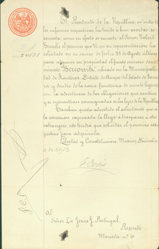 Signed Official Manuscript dated December 4, 1903, regarding acquisition of property in Sonora, Mexico by Robert Brooks. Colonizacion E. Industria Secretaria De Estado Y. Del Despachio De Fomento, Mexico.