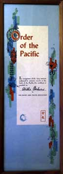 Order of the Pacific for Wilkie Osburn with 50s motifs. Pacific Area Travel Association.