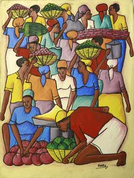 African or Caribbean Women Carrying Fruit. Franksy.