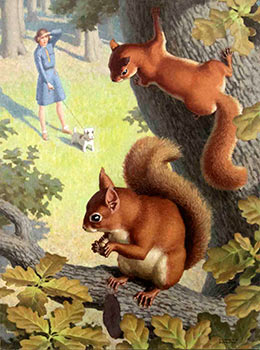 Squirrels in a tree with a girl and dog below. Edward Osmond.