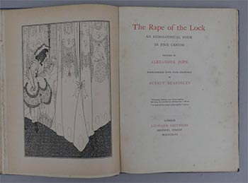 The Rape of the Lock: An Heroi-Comical Poem in Five Cantos. Embroidered with nine drawings by Aubrey Beardsley. First edition. Alexander Pope, Aubrey Vincent Beardsley.