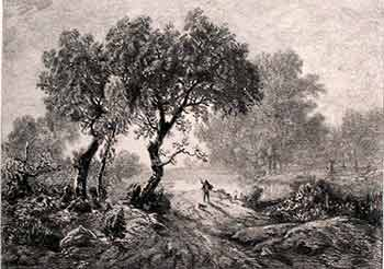 The Fisherman. (First edition of the etching.). Th. Rousseau, G. Greaux, Artist, Engraver.