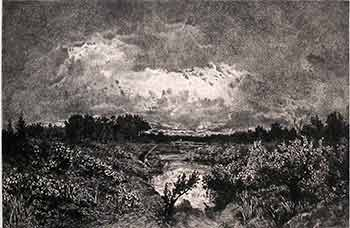 Evening. (First edition of the etching.). Th. Rousseau, Kratke, Artist, Engraver.