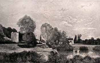 Banks of a Stream. (First edition of the etching.). Th. Rousseau, G. Greux, Artist, Engraver.