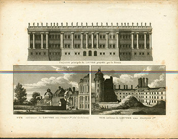 Facade principale du Louvre projettee par Bernin. (Three views of the Louvre). (B&W engraving). 18th Century French Artist.