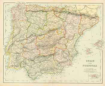 Spain and Portugal (Map). 19th Century European Engraver.