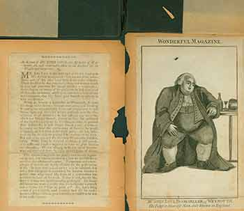 Wonderful Magazine: Mr. John Love, Bookseller, of Weymouth. The fatest & Heaviest Man ever known in England.(Includes print, detached black boards and typed page). William Granger, engrav., M. Allen.
