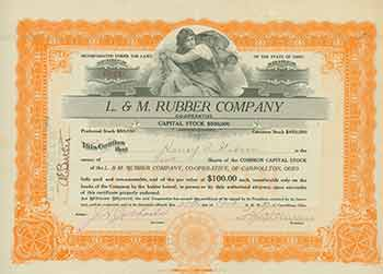 Full Paid and Non-Assessable 2 Shares of Common Capital Stock of Par Value $100 Each. L., M. Rubber Company.