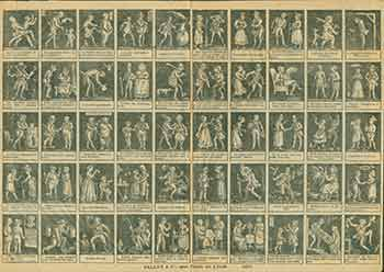 French Broadsheet with 50 miniature etchings and captions. 19th Century French Artist.