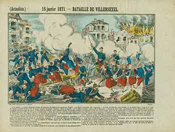 (Actualités.) 15 janvier 1871 -- Bataille de Villersexel. (News. January 15, 1871 - Battle of Villersexel). 19th Century French Artist.