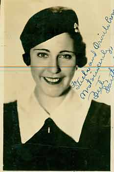 Elizabeth Barthells. (Original Photograph). (Signed and inscribed). Elizabeth Barthells.
