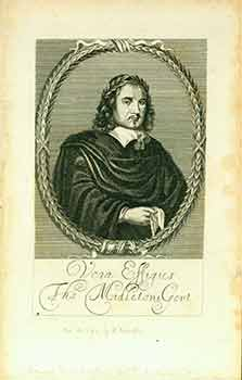 Vera Effigies Tho Midletoni Gent. (Engraving) (Portrait of the dramatist Thomas Middleton; half length, to the right, wearing black cloak with flat white collar, holding handkerchief, wearing crown of laurel, in oval frame of laurel; frontispiece to his 'Two new Playes' (1657).). Anonymous.