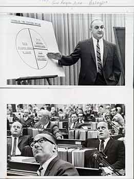 Philip Battaglia, Gov. Reagan's Executive Secretary; Assemblyman Robert Crown, Lewis Angelo and Assemblyman John Knox, Sacramento, California. (Two Original Photographs). Walt Zeboski.