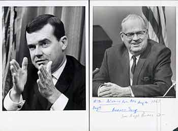 Senate President Pro tem Hugh M. Burns in Sacramento, California; William Clark, Gov. Reagan's Cabinet Secretary. (Two Original Photographs). Walt Zeboski.