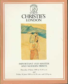 Important Old Master and Modern Prints. June 29-30, 1989. London. Sale # RONSARD-4088-4089. Lot #s 1-620. Christie's, London.