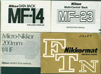 Nikon instruction manuals for the Nikkormat FTN, Nikon Multi-Control Back MF-23, Micro-Nikkor 200mm f/4 IF, Nikon Data Back MF-14. Nikon Corporation, Tokyo.