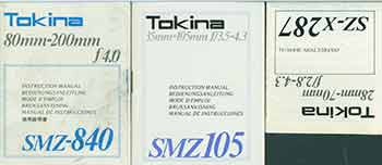 Tokina instruction manuals for SZ-X 287, SMZ 105, SMZ-840. Tokina Optical Company LTD, Tokyo.