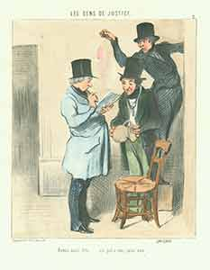 """""""Avons saisi dito...un pot a eau, sans eau (The following have been seized: one water jug, containing no water)"""" from Les Gens de Justice (Lawyers and Judges) Series, 1845-1848. Plate No. 2. Honoré Daumier."""