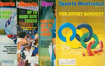 4 Sports Illustrated issues from 1984. Covers include George Brett, Mike Bossy, Magic Johnson, Soviet Boycott, et al. Issues May 14, 21, March 5, 12, 1984. Sports Illustrated.