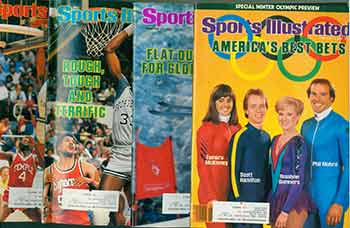 4 Sports Illustrated issues from 1984. Covers include Winter Olympic Preview, Bill Johnson, Patrick Ewing, Sam Perkins, et al. Issues February 6, 27, March 19, 26, 1984. Sports Illustrated.