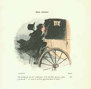 """""""Ah! Tres bien j'en suis sur! (Aha! Now at last I'm sure of it!)"""" from Moeurs Conjugales (Mores of Married Life) Series, 1839-1842. Plate No. 35. Honoré Daumier."""