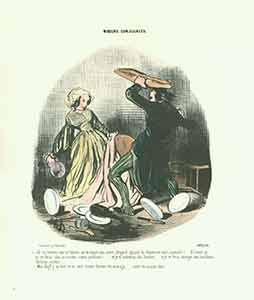 """""""Ah! Tu trouves que ta femme ne te soigne pas assez (I see! You don't think your wife)..."""" from Moeurs Conjugales (Mores of Married Life) Series, 1839-1842. Plate No. 38. Honoré Daumier."""