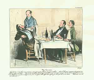 """Un bon mari...'Vous porterez cette note a ma femme' (A good husband: 'Take this bill to my wife')..."" from Caricaturana: Robert Macaire Series, 1836-1838. Plate No. 65. Honoré Daumier."