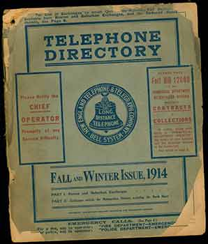 Telephone Directory for Boston & Suburban Exchanges, and Exchanges Outside the Metropolitan District, Including the North Shore, New England Telephone and Telegraph Company, 1914. New England Telephone, Telegraph Company.