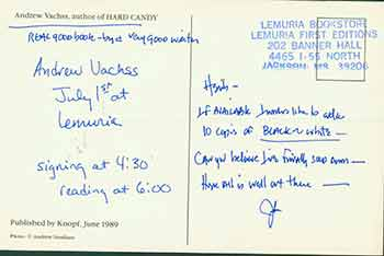 Postcard addressed to Herb Yellin of the Lord John Press, [from Andrew Vachss], author of Hard Candy. Andrew Vachss, Herbert Yellin.