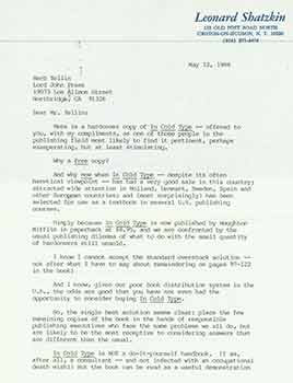 Signed letter from published author Leonard Shatzkin sent to Herb Yellin of the Lord John Press. Leonard Shatzkin.