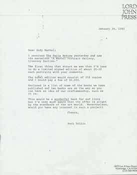 Letter from Herb Yellin of the Lord John Press to Andy Warhol. Lord John Press/Herb Yellin.
